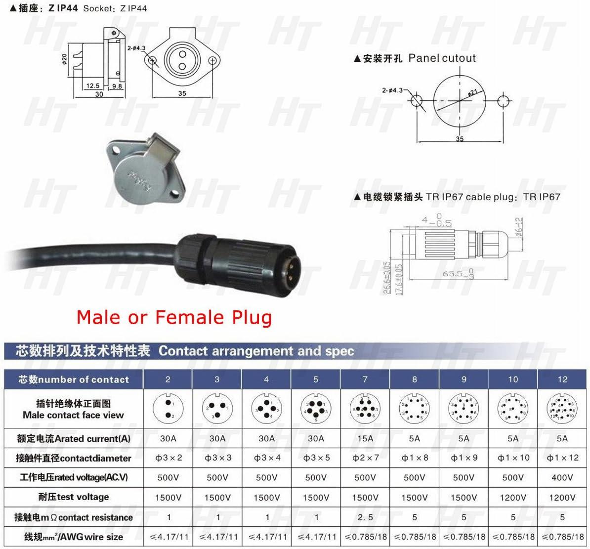 HangTon HP20 10 Pin Power Electrical Circular Aviation Waterproof Connector Female Plug Male Socket