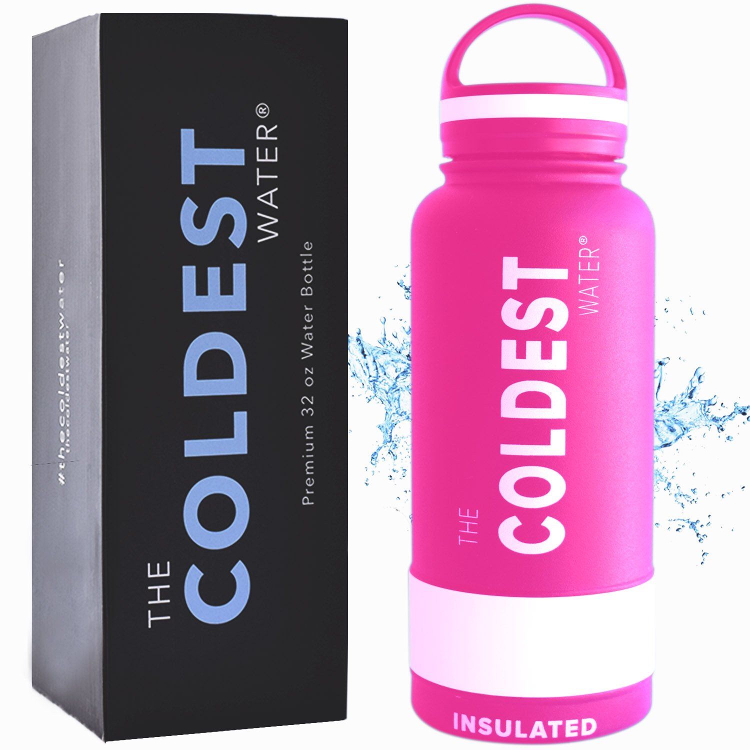 The Coldest Water Bottle Wide Mouth 32 oz Vacuum Insulated Stainless Steel Hydro Travel Mug - Ice Cold Up to 36 Hrs/Hot 13 Hrs Double Walled Flask Strong Cap