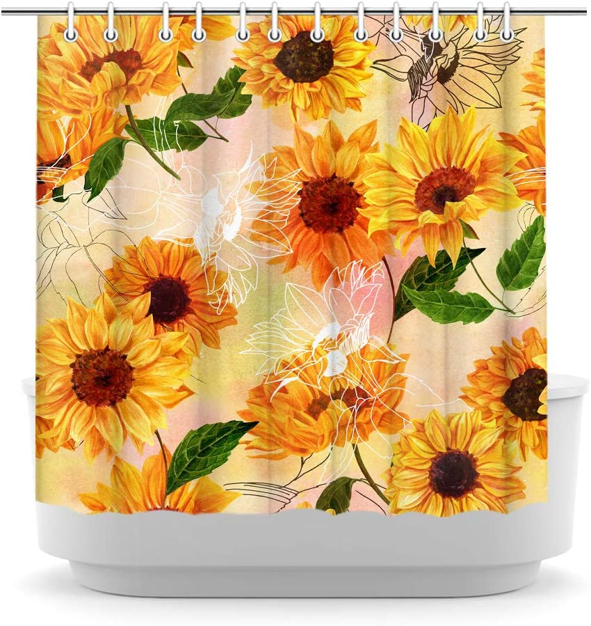 iKNOW FOTO Vintage Sunflower Shower Curtain Rustic Farmhouse Flower Yellow Floral Spring Summer Plant Nature Fabric Bathroom Curtains with Hooks 72x72 Inch