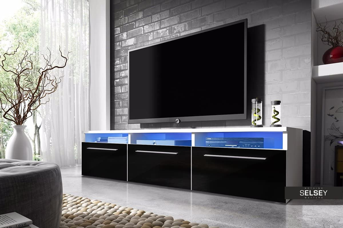 Lavello - Mueble TV / Mesa para TV (150 cm, Blanco Mate / Negro ...