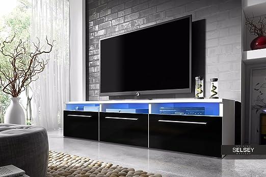 Lavello - Mueble TV / Mesa para TV (150 cm, Blanco Mate / Negro Brillo con Iluminación LED Azul): Amazon.es: Juguetes y juegos