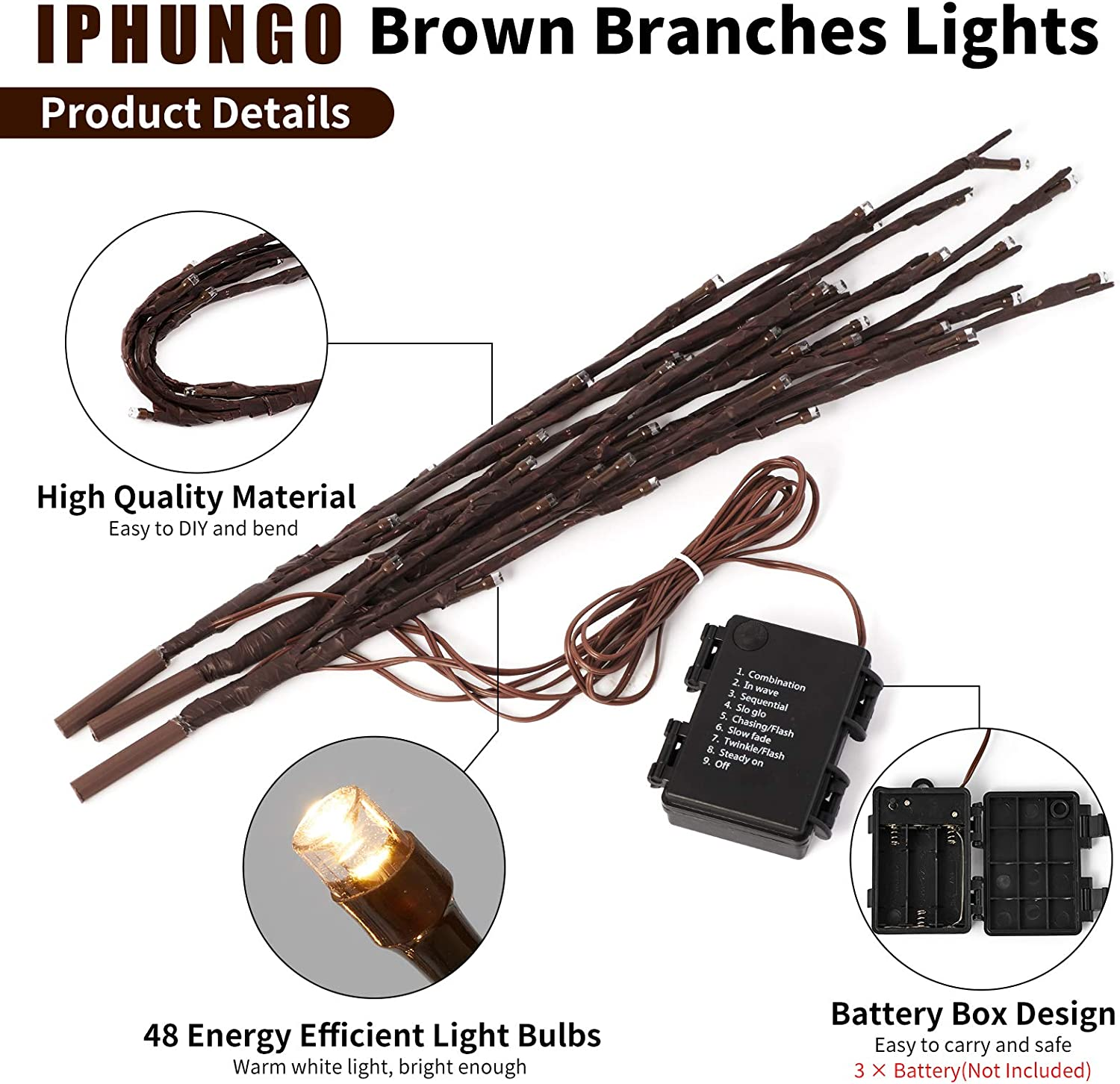 IPHUNGO 3PCS 18 Inch Lighted Tree Willow Branches