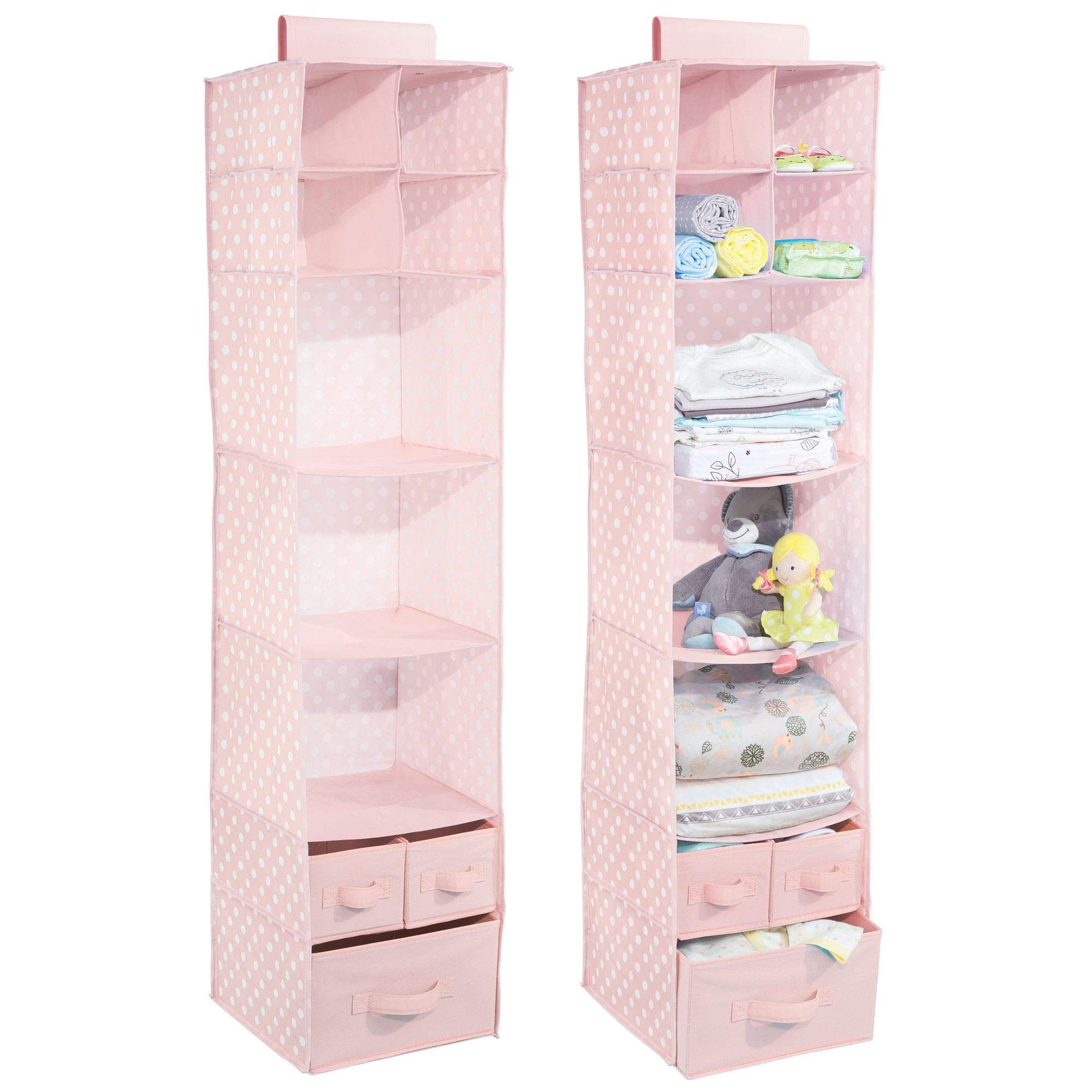 mDesign Soft Fabric Over Closet Rod Hanging Storage Organizer with 7 Shelves and 3 Removable Drawers for Children's Bedrooms or Nursery - 2 Pack, Polka Dot Pattern, Pink with White Dots