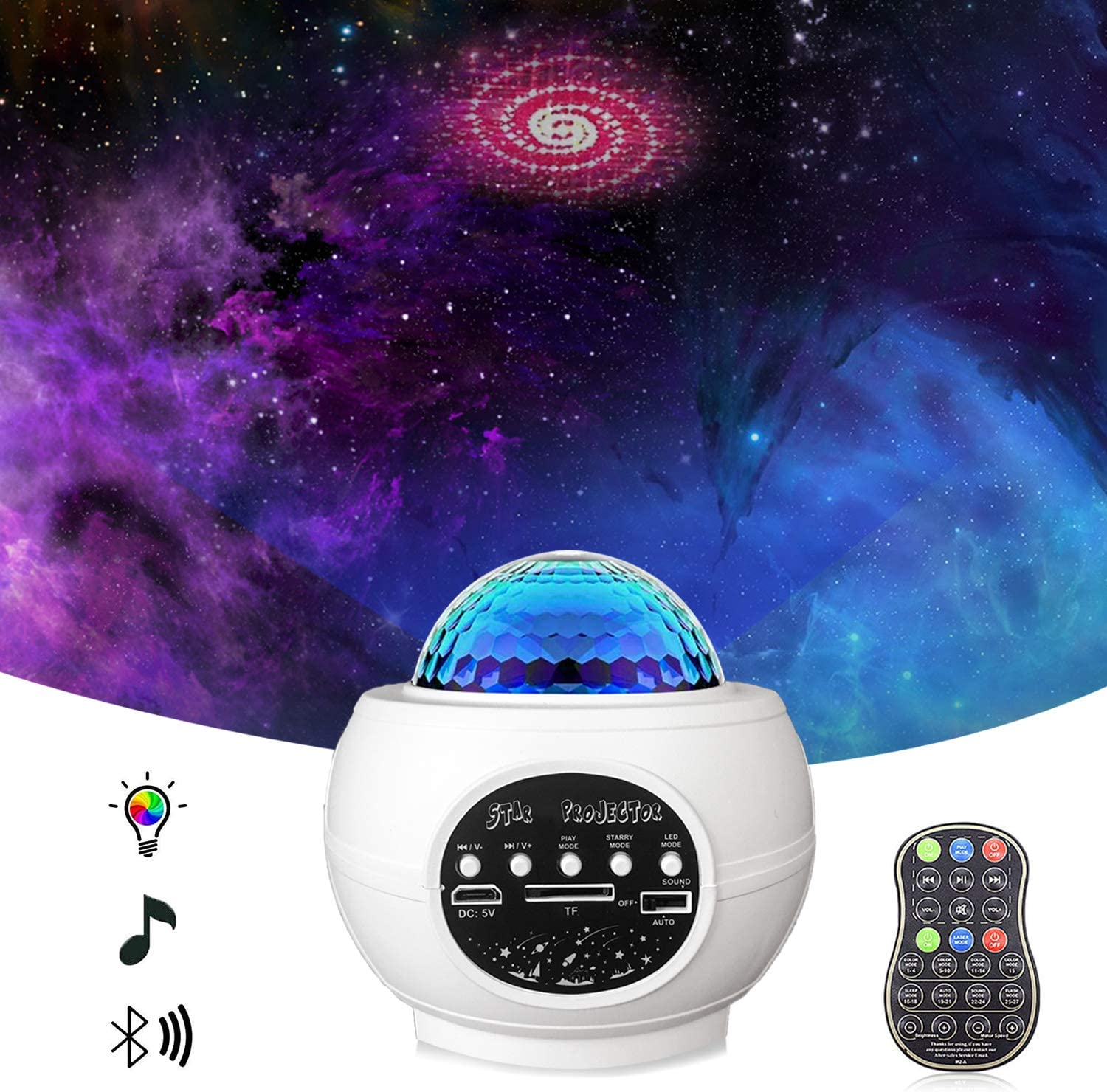 Star Projector Night Light Projector With LED Galaxy Ocean Wave Projector Bluetooth Music Speaker For Baby Bedroom, Game Rooms, Party, Home Theatre, Night Light Ambiance - - Amazon.com