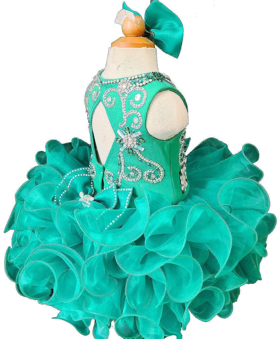 Jenniferwu Infant Toddler Baby Newborn Little Girls Pageant Party Birthday Dress G090 Emerald Size 3T