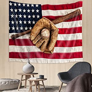 Sport Tapestry Baseball Glove and Bat Tapestry Wall Hanging, Vintage Sports Baseball Tapestry Patriotic USA American Flag Wall Tapestry for Bedroom Living Room Dorm Party Wall Decor, 71(W)x60(H) IN