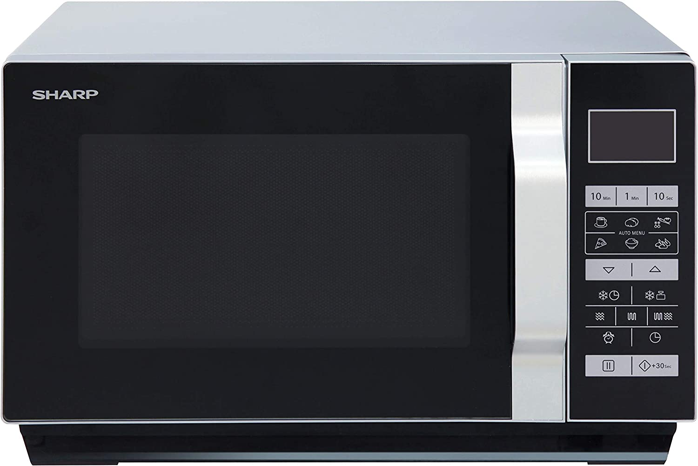 Sharp R760S, 900 W, 23 litros, Acero Inoxidable, Negro, Plata