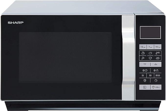 Opinión sobre Sharp R660S - Microondas 2 en 1 (800 W, 20 L, 5 niveles de potencia, 8 programas automáticos AutoCook con programa de palomitas, horquilla plana (sin plato giratorio), color negro y plateado