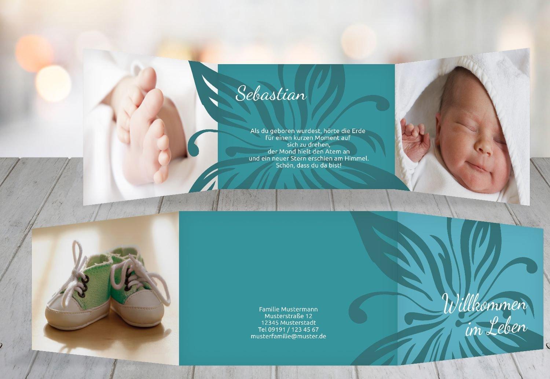 Kartenparadies Geburtskarte Babykarte Blaume, hochwertige Babykarte zur Geburt inklusive Umschläge   20 Karten - (Format  148x105 mm) Farbe  DunkelGrün B01N4TXXKM   Erste in seiner Klasse    Professionelles Design    Abrechnungspreis