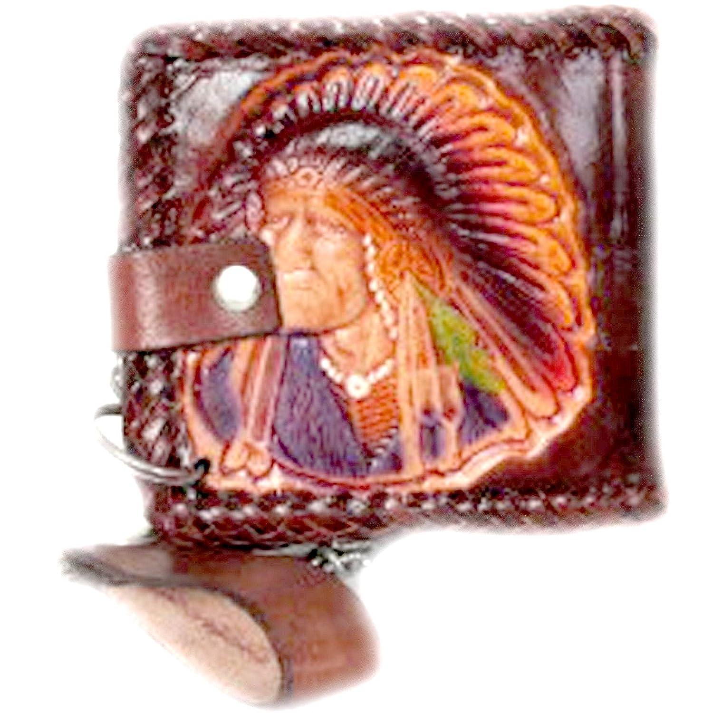 閉じたスナップレッドインディアン牛革レザー二つ折り財布、チェーンと、ステッチエッジ B00C52UVZA