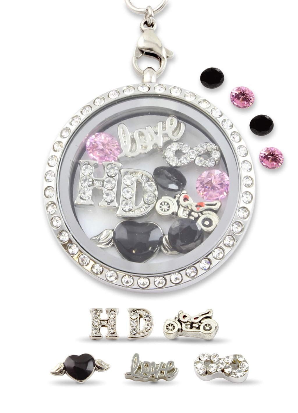"""Infinity Love Harley"" Floating Charm Living Memory Locket Magnetic Closure 30mm Stainless Steel Pendant Necklace with Pink and Black Crystal Charms"