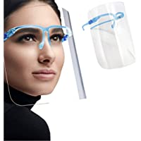 Safety Shields | All-Around Wide Protection | Reusable Glasses Frame Attached to Anti-Fog Transparent Visor…