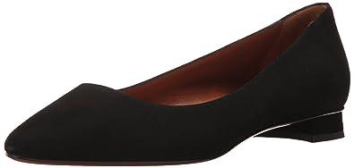 Aquatalia Women's Perla Suede Ballet Flat, Black, 10 M M US