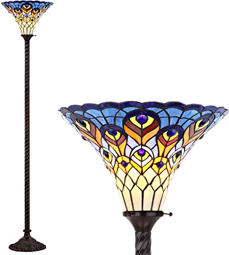 JONATHAN Y JYL8006A Peacock Style 70″ Torchiere LED Floor Lamp
