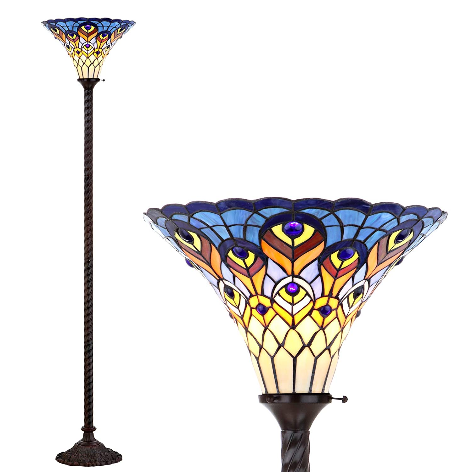 JONATHAN Y JYL8006A Peacock Tiffany 70 Torchiere LED Floor Lamp, Classic Traditional Styling, Bulb Included, Bronze