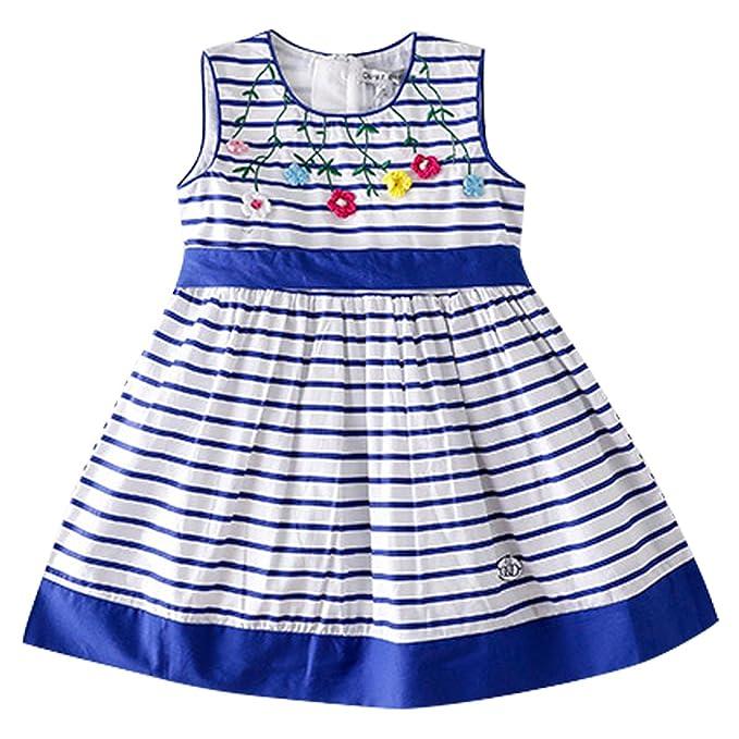Bebone Vestido Casual Verano sin Manga Algodon para niñas 2-8 años Playa (Color2