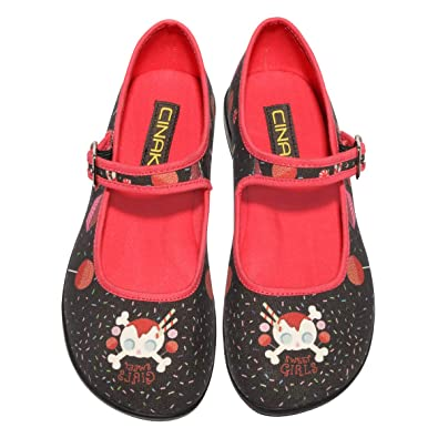CINAK Mary Jane Flats Women- Comfortable Ballet Flats Black Candy Skull  Wide Width Soft Shoes