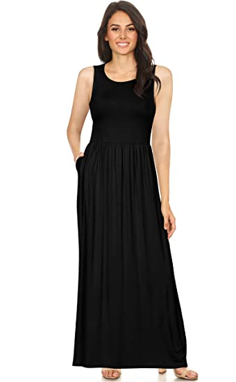 Simlu Womens Long Rayon Maxi Dress With Pockets Scoop Neck And