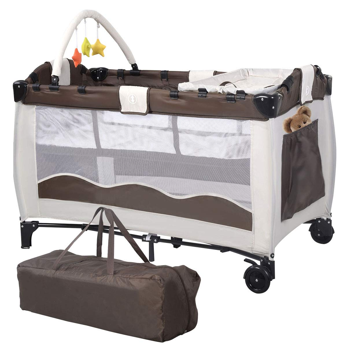 Coffee Baby Travel Cot With Folding Crib Bed And Carry Bag