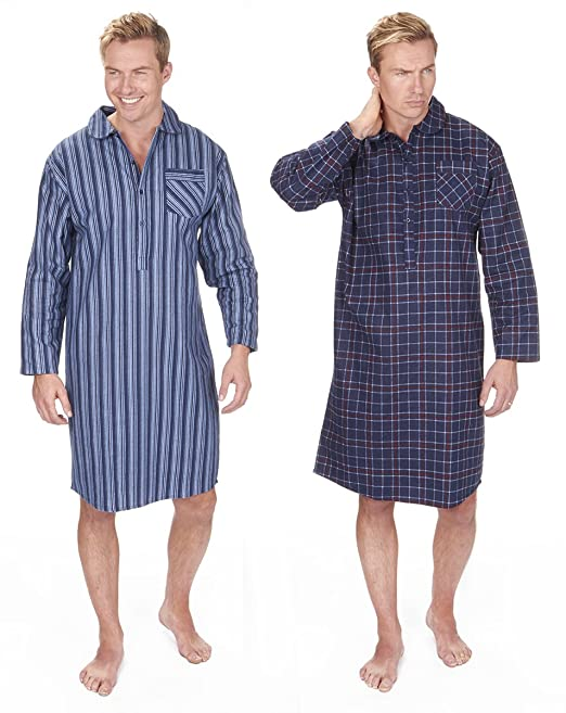 635a2fafa7 Mens 100% Brushed Flannel Cotton Nightshirt Striped or Checked Blue Red  Navy  Amazon.co.uk  Clothing
