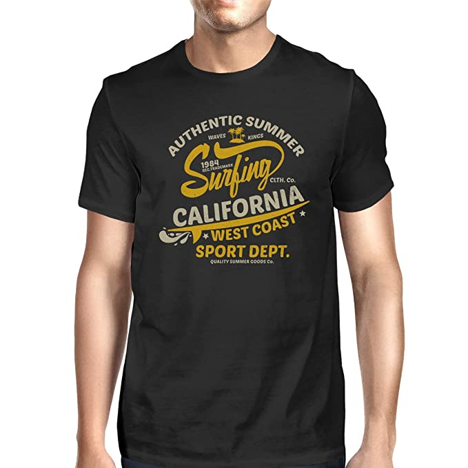 1b5a2964357 365 Printing Authentic Summer Surfing California Mens Black Short Sleeve  Tshirt