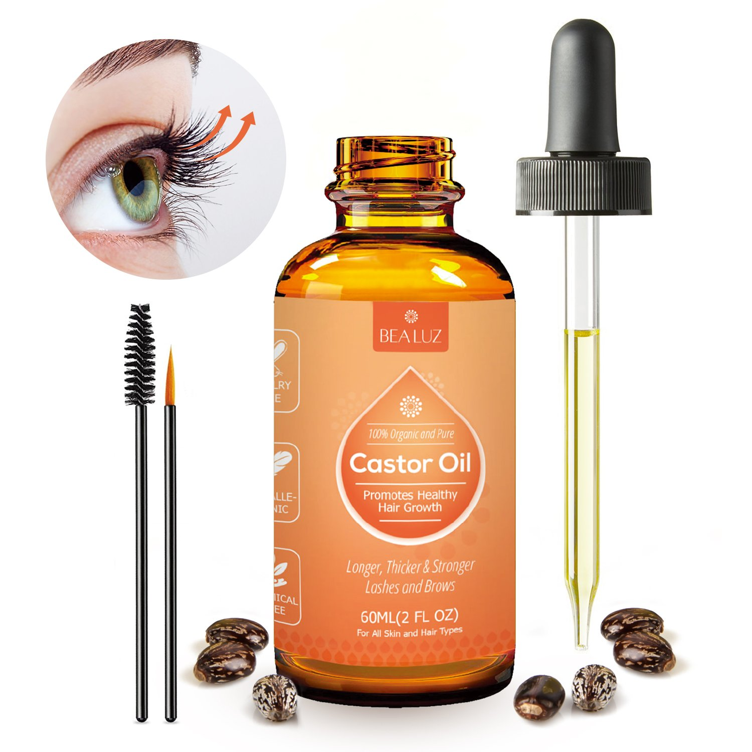 Castor Oil for Skin, Eyelashes Eyebrow Growth for Longer, Fuller, Thicker Lashes & Brows, Hair and Beard Growth (60 ml) Bea Luz