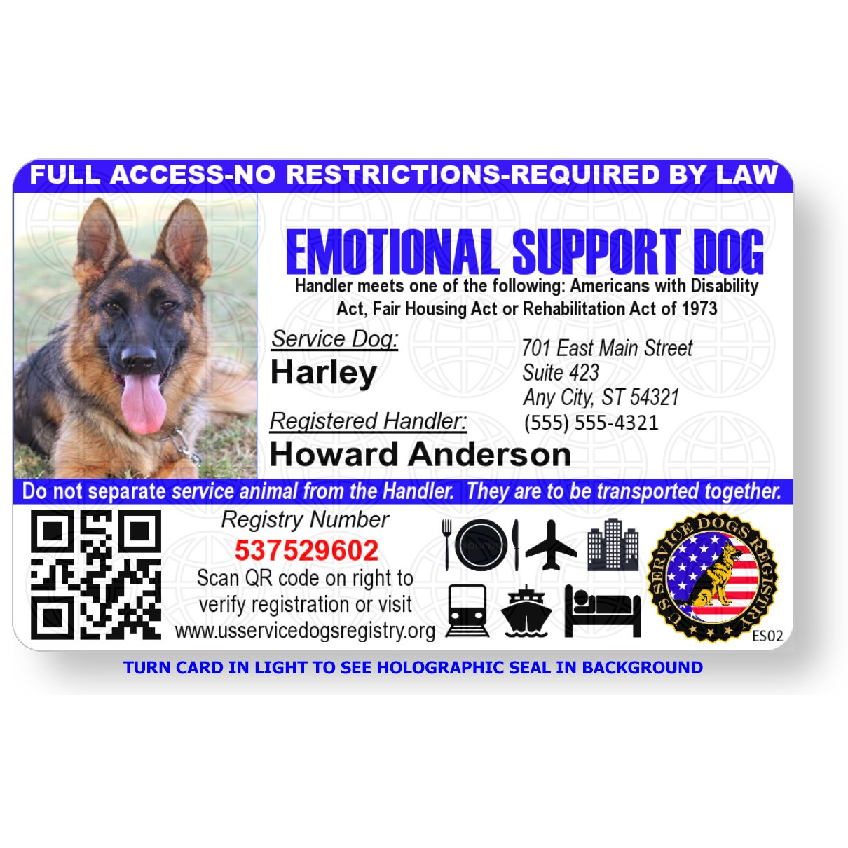 Just 4 Paws Custom Holographic QR Code Emotional Support Dog ID Card with Registration to Service Dogs Registry with Strap - Landscape Style by Just 4 Paws (Image #3)