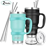 30oz Tumbler, 2 Packs Stainless Steel Double Wall Vacuum Insulated Tumbler Travel Mug With 10Pcs Reusable Straw, 2Pcs…