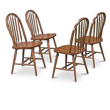 4 Dark Oak Stain Kitchen Dining Arrow Back Chairs Set