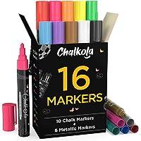Liquid Chalk Markers & Metallic Colors by Chalkola - Pack of 16 Chalk Pens - For Chalkboard, Blackboards, Window, Glass…