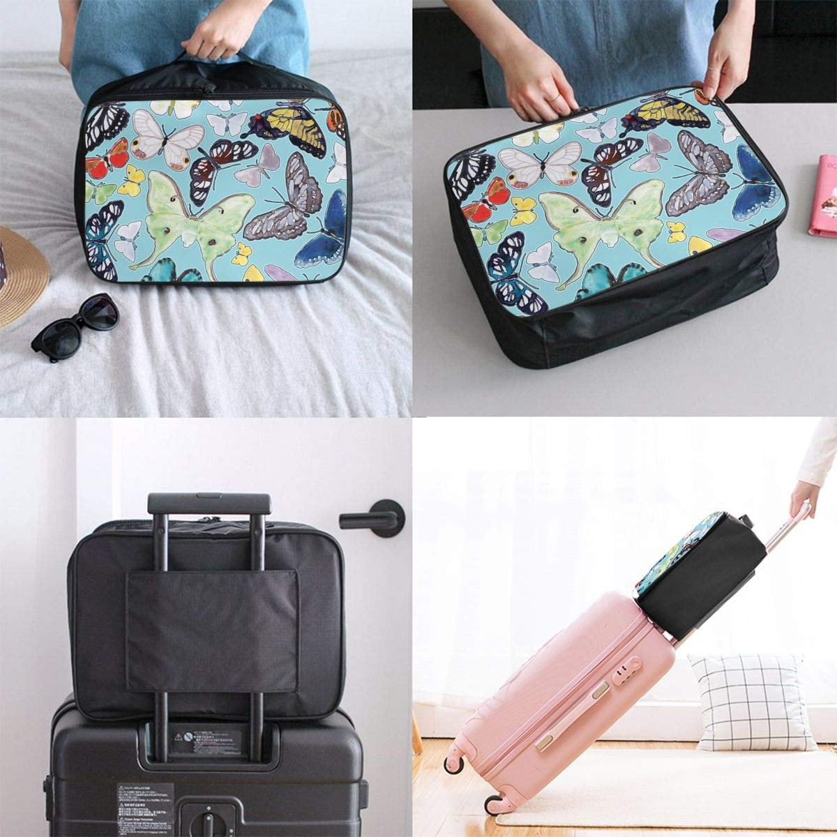 YueLJB Splashy Butterfly Lightweight Large Capacity Portable Luggage Bag Travel Duffel Bag Storage Carry Luggage Duffle Tote Bag