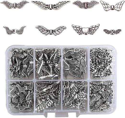 Pulluo Flügel Spacer 160 Pcs Tibetanische Flügel 8 Arte Perlenengel Zum Basteln Antiksilber Engelsflügel Für Armbänder Halskette Diy