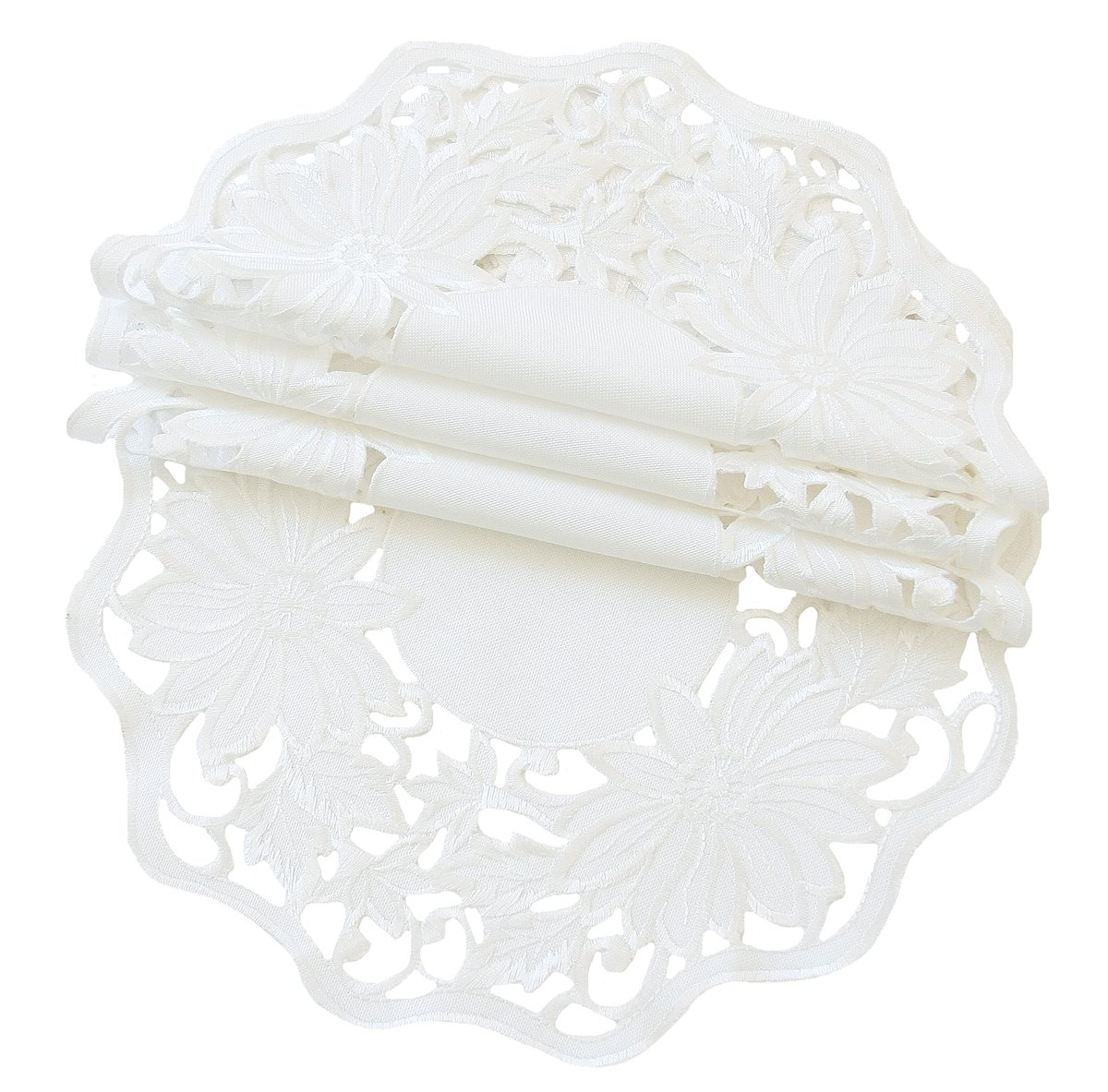 Xia Home Fashions Daisy Garden Embroidered Cutwork Spring Doilies, 12-Inch Round, White, Set of 4