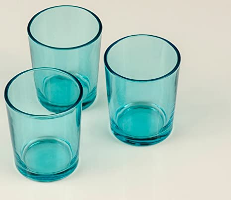 Mister Candle Set Of 12 Colored Glass Votive Holders For Weddings Events And Home Decor Turquoise Home Kitchen