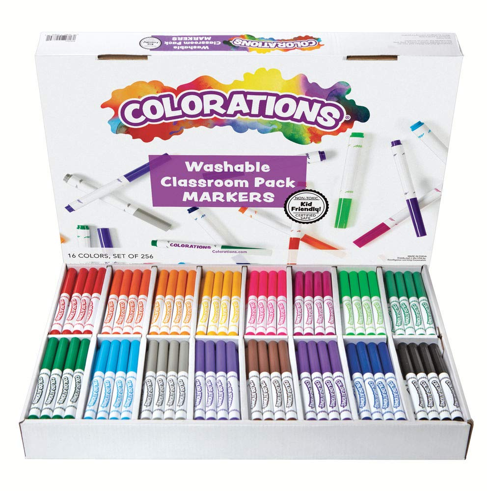 Colorations Washable Classic Markers Classroom Pack - Set of 256 (Item # 982561) by Colorations