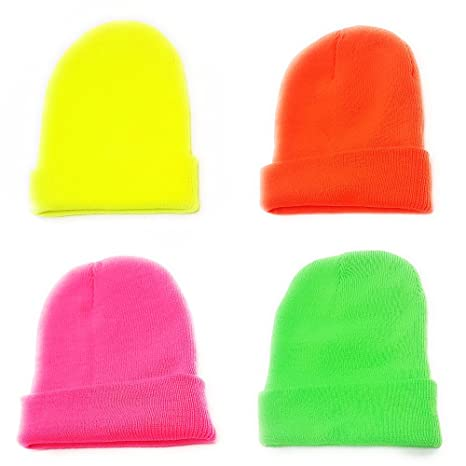 c4a87adbb83 Neon Beanie Hat Mens Ladies Winter Woolly Slouch Ski Knitted Unisex Hat  Turn Up (ORANGE)  Amazon.co.uk  Sports   Outdoors