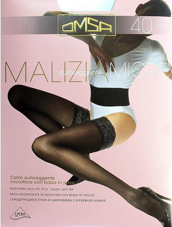Calza autoreggente Donna Omsa microfibra 40 Den Nero Marrone Balza in pizzo 528