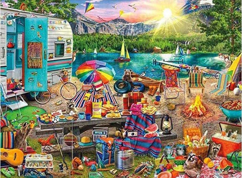Jigsaw Puzzle Camping Picnic Wooden Jigsaw Puzzle 10000 Pieces Adult Paper Anti Stress Gift Children Educational Toys