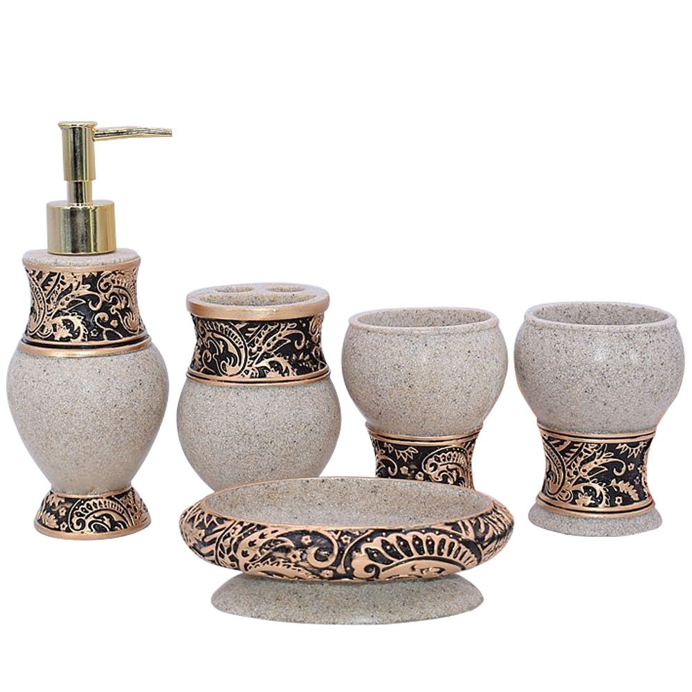 5pcs Bathroom Accessory Set - Tumbler, Soap Dish, Liquid Soap Dispenser, Toothbrush Holder,Bronze