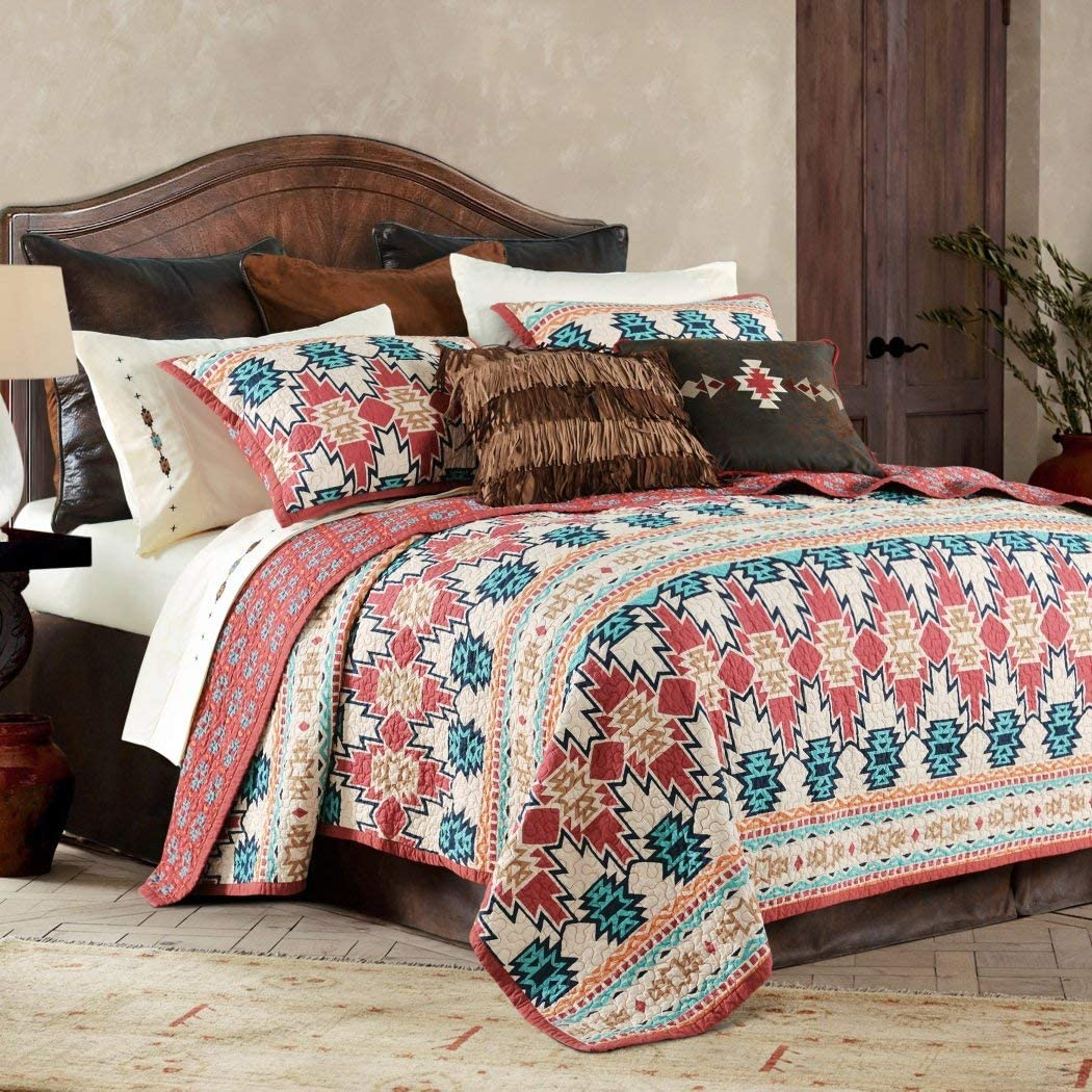 3 Piece Red Tan Southwest Quilt King Set Tribal Bedding Teal Blue Burnt Orange Rustic Motifs Native American Themed Western Colors Aztec Bohemian Medallion Reversible Cotton Polyester Home Kitchen