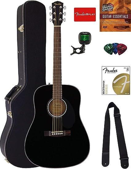 Fender CD-60 Dreadnought Guitarra Acústica Paquete con funda rígida, soporte para guitarra, afinador, correa, púas, cuerdas – Natural: Amazon.es: Instrumentos musicales