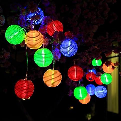 YOEEKU Lichterkette 20er 4,6 Meter LED Lampions Laterne Gartenbeleuchtung  Innen  Und Außenbereich Mit