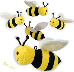 """Set of 5 Realistic-Looking Toy Plush Soft Stuffed 5"""" Honey Bees with Crinkle Wings"""