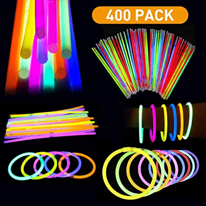 Birthdays And More Great For Party Supplies 200 Pack Colorful Glow Sticks Fun for Kids and Adults Glow in The Dark Glowing Sticks Fun Party Pack with 8 Glowsticks And Connectors For Weddings