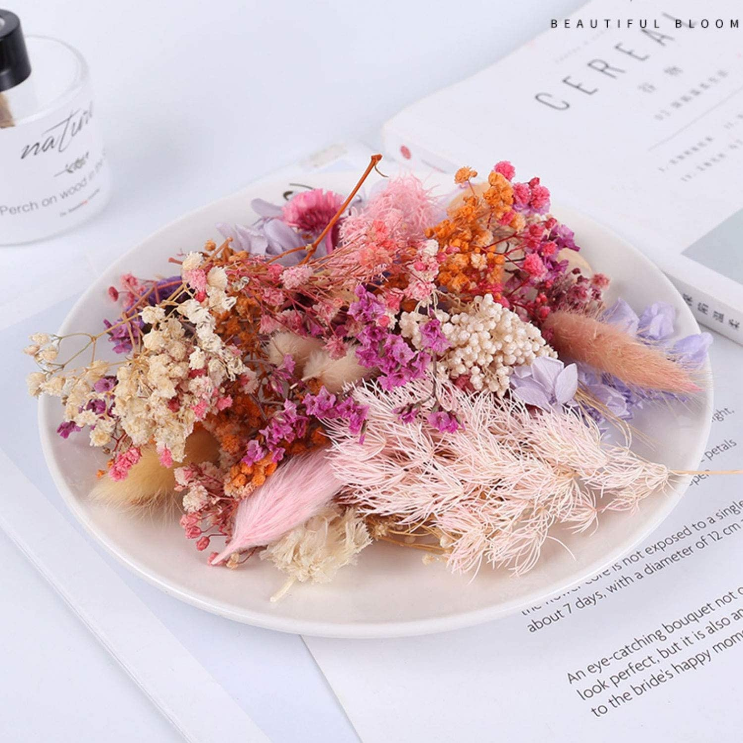 Pink Dried Flowers Real Natural Dried Flowers for Art Craft Mixed Multiple Colorful Dried Flowers for Soap Candle Scrapbooking DIY Resin