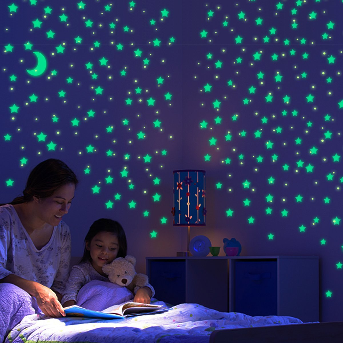 IBEET Glow in the Dark Stars,5 Sheets 216 PCS Self-adhesive Luminous No Trace Multipurpose Glowing Star Stickers with Moon,for Kids Bedding Room,Wall,Cup,Clothes,Party Decoration