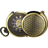 TREEWETO Men's Vintage Archaize Bronze Hide Carved Steampunk Mechanical Pocket Watch with Chain