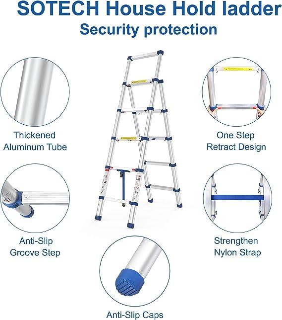 Sotech Escalera de 5 peldaños, escalera telescópica, certificación EN132, cierre suave, plegable y compacta, carga máxima 330 libras: Amazon.es: Bricolaje y herramientas