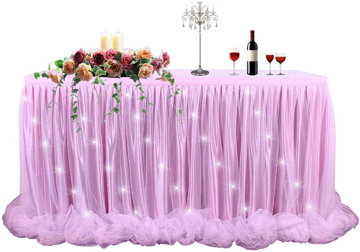 Pink Tulle Tutu Table Skirt Table Cloth LED Table Skirt for Rectangle or Round Table for Baby Shower Wedding and Birthday Winter Party Decoration(6 ft Table Skirt)