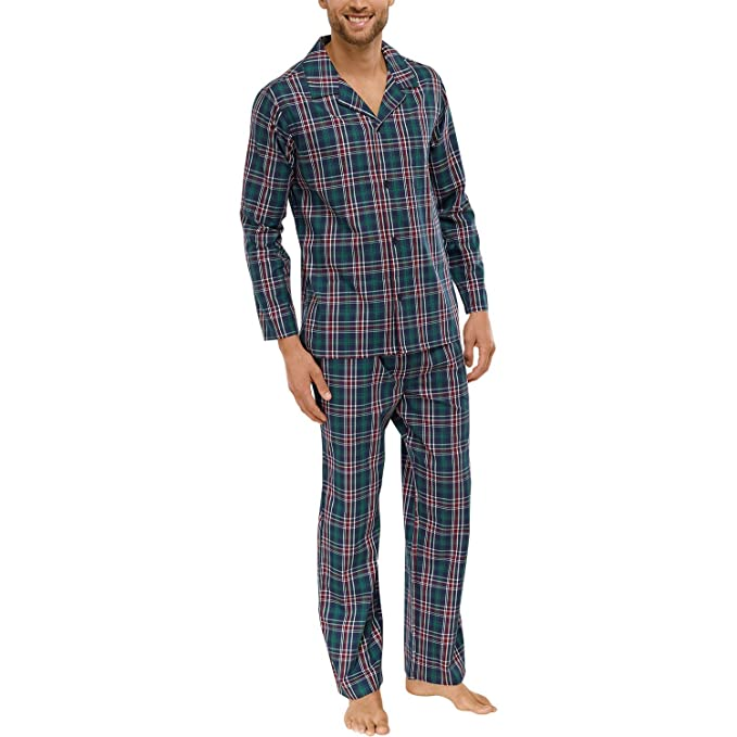 Schiesser - Pijama - para Hombre Verde Oscuro X-Large